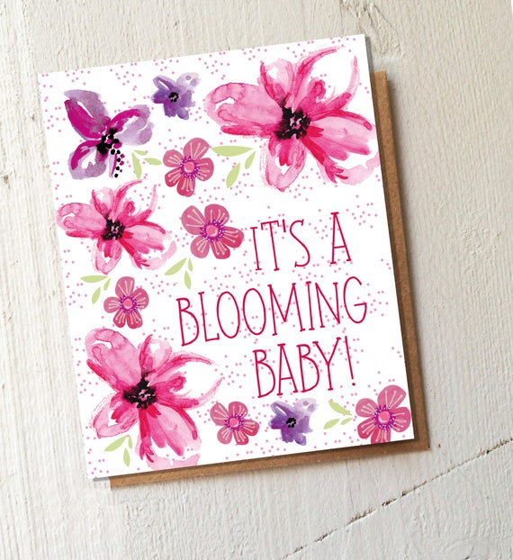 Blooming Baby Wildflower seed card - plantable card - plant and watch grow - New baby - Baby boy - Baby Girl - New arrival - fun - colourful