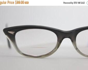 ON SALE Vintage 50's Smokey Green Cat Eye Eyeglasses Frames