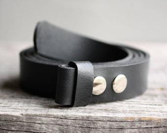 Genuine leather snap belt, BLACK snap on belt, Handmade leather belt, belt strap for buckle, gift for him, man gift idea