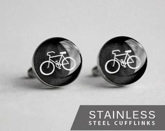 Bicycle cufflinks, Surgical steel cuff link, Sport cufflinks, Wedding cuff links for groom, groomsmen