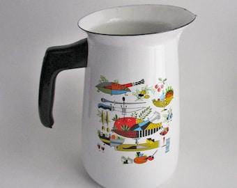Vintage Enamel Coffee Pot Retro Decal Multicolor Kitchen Design Pitcher Vase