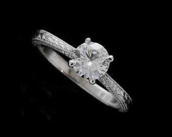 Vintage Engraved Engagement Ring, 6mm (0.75ct) Forever One Moissanite Ring, Wheat Style Carved Solitaire Ring, Art Deco Gold Proposal Ring