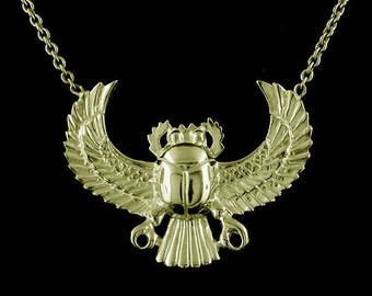 Layaway Plan: Scarab Necklace, Gold Scarabeaus Pendant, Amulet Necklace, Ancient Egyptians Amulet, No Chain