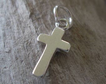 2 Small Sterling Silver Cross Charms Approx.16 x 8 mm Sturdy 925 SS Earring component Bracelet Dangle 1 Pair
