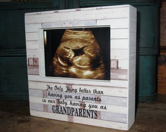 The only thing better than having you as parents is our baby having you as grandparents Pregnancy Reveal New Grandparent Sign Picture Frame