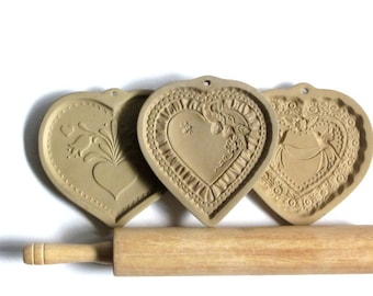 Brown Bag Cookie Art Folk Heart & Tulips 1986 Strawberry Heart 1990 Victorian Heart 1985 Your Choice Collectible Cookie Molds Kitchen Decor