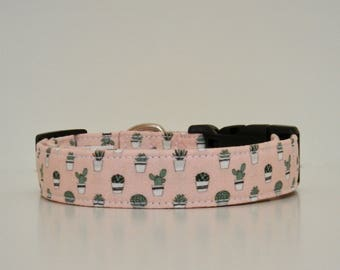 Succulents Cactus Pink Green Dog Collar Dog Collar Summer Wedding Accessories Made to Order