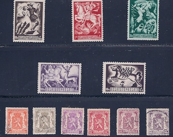 Belgium Vintage Postage Stamps - Coat of Arms 1936 - Belgium Legends 1944