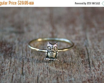 INDEPENDENCE DAY SALE Owl Ring- Sterling silver - silver ring - stacker stackable stack stacking - simple delicate dainty - handmade jewelry