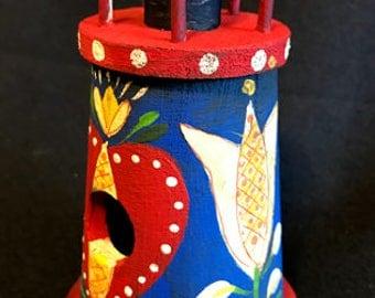 NEW - Floral Mini Lighthouse Birdhouse