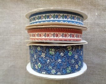 Vintage Fabric Ribbon Floral Prints Three Rolls 1980s Country Ribbon Company 48+ Yards Total