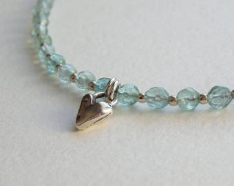 Aqua Blue Gemstone Necklace with Sterling Silver Heart Pendant, Delicate Apatite Necklace, Unique Gift for Woman