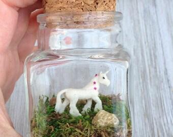 Unicorn Desk Pet One Inch Pygmicorn in Glass Jar with Cork
