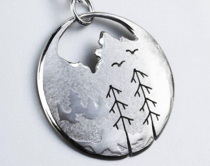 Mountain Scene Pendant, Silver Pendant, Silver Jewellery, Nature Jewellery.