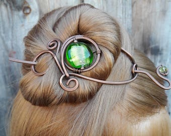 Large Green Hair Barrette Copper Hair Slide Hair Pin Stick Hand Forged Fibula Wire Wrapped Jewelry Wire Work Handmade Womens gift for her