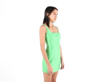 Knockout 90s RAW SILK Look Slime Green Metallic Iridescent Minimal Mini Party Dress