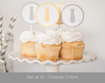 Little Man Baby Shower, Tie Cupcake Toppers, Boy Birthday, Boy Baby Shower Decoration, Yellow and Gray Boy Shower