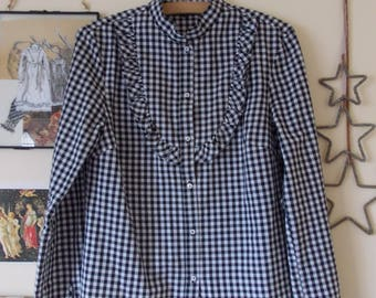 Black and White Gingham Prairie style Blouse