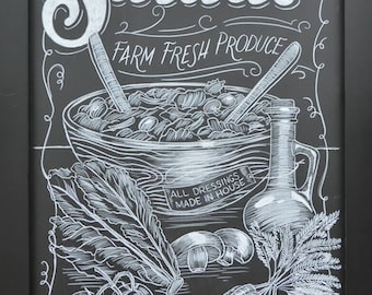 Restaurant & Coffee Shop Chalkboard Art - Customized Just For You - Digital File Delivery For Printing - 100% Hand Drawn Artwork