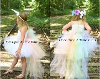 Pastel Unicorn Bustle Tutu Dress - Girls Size 12 18 Months 2T 3T 4T 5 6 7 8 9 10 12 Birthday, Halloween Costume - Colorful Pony Mane Horn