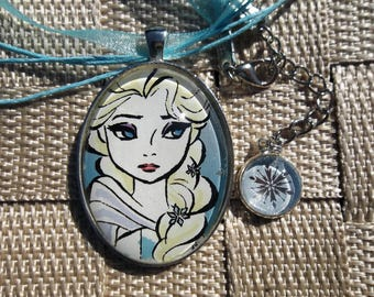 Elsa Handmade Glass Pendant with Extension Charm