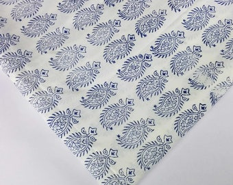 Indigo and White Cambric Cotton - Hand Block Printed Indian Cotton Fabric - Dress Fabric Blue and White Printed Cotton Fabric by Yard