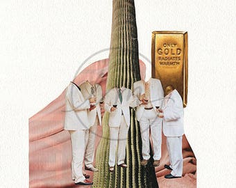 """Untitled Collage (Suits and Cacti) 8""""x10"""" Collage PRINT"""