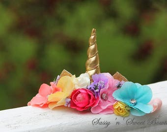 Unicorn crown headband floral flowers photo shoot prop Boho baby newborn custom headpiece birthday 1st first