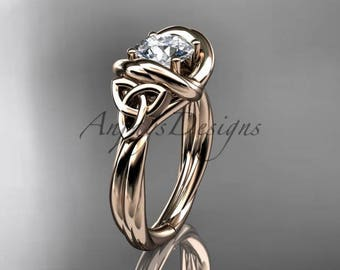 14kt rose gold trinity celtic twisted rope wedding ring RPCT9146