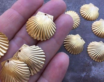 12 pc Goldtone Brass Ocean Themed Sea Shell Charms For Jewelry or DIY Embellishment Crafts