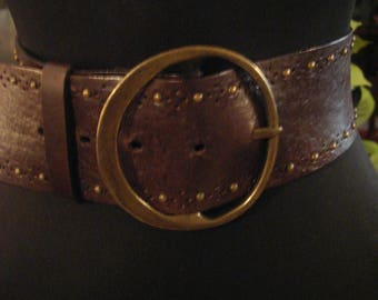 Vintage Boho Brown Leather Thick Waist Belt with Round Brass Buckle