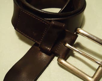 Vintage 1990s Unisex Black Leather Distressed Belt