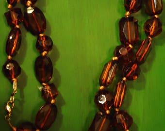 Vintage 1970s Boho Gypsy Chic Dark Amber Tone Necklace