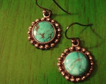 Vintage 1990s Small Round Turquoise and Silver Drop Earrings