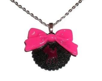 Kawaii Deer Necklace, Hot Pink Bow, Black Glitter Scallop Cute Necklace