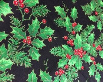 "Poinsettia Christmas Fabric - 17"" x 21"""