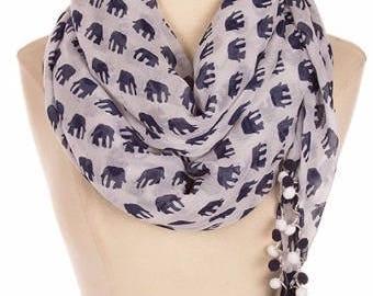 Elephant print scarf, most sold items, best friend gift for mom, pom pom trim scarf, Tassle Tassel Scarf, Bridesmaid Gift womens, PiYOYO