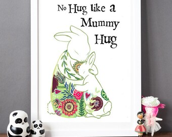 Mummy Hugs Rabbit Print - Mother's Day Gift