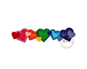 Line of hearts boarder embroidered fabric valentine's day applique, Holiday heart patch, DIY iron on valentine's day patch, Ready to ship