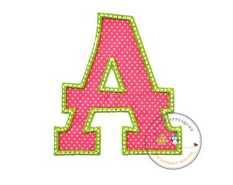 Large initial letter pink and green A with bird - iron embroidered fabric applique patch embellishment- ready to ship