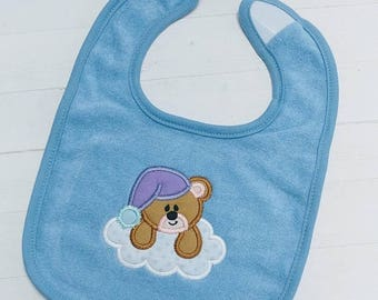 ON SALE NOW Sleepy teddy bear blue or pink embroidered terri cloth baby bibs for boy and girls