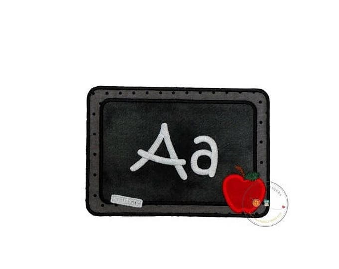 ON SALE NOW Blackboard with chalk letters iron on applique, machine embroidered iron on back to school patch, fabric no sew chalkboard patch