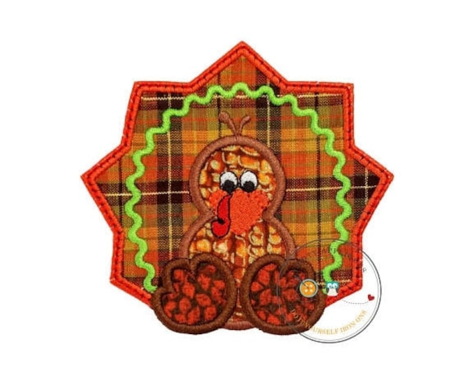 ON SALE NOW Fall orange and brown turkey- baby - iron embroidered fabric applique patch embellishment- ready to ship