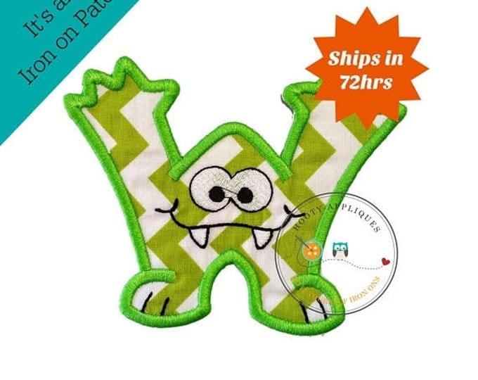 ON SALE NOW Monster letter W applique, initial embroidered patch, bright iron on applique letter, iron on letter embellishment, iron on mono