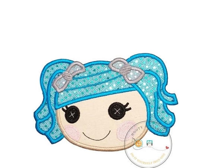 ON SALE NOW Large lala doll face with blue hair. Iron embroidered fabric applique patch embellishment-ready to ship