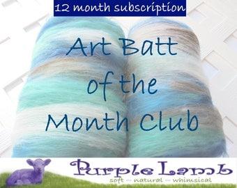 Art Batt of the Month Club - 12-Month Subscription, New and Unique Art Batt, Art Batt to Spin, Art Batt to Felt, Soft Art Batt, Fiber Club