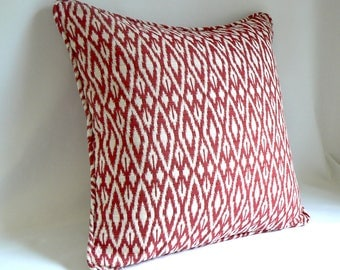"""Red and White Diamond, 20"""" Pillow"""