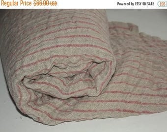 Summer sale Pure linen throw blanket. Throw with red stripes. Pre-washed and softening. Beach blanket. Throw blanket. Natural linen throw.