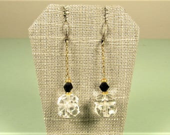 Crystal Black Bead Earrings - Vintage Art Deco Brass Long Dangle