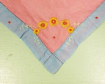 Blue Pink Flower Hankie - Vintage Embroidered Flower